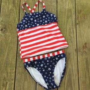 OP girl's patriotic swimsuit July 4th two piece